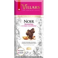 Швейцарский тёмный шоколад Villars с цельным фундуком и хрустящими вафлями