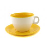 Чайная пара двухцветная жёлтая 220 мл