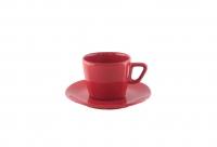 Чайная пара 200 мл квадратная красная
